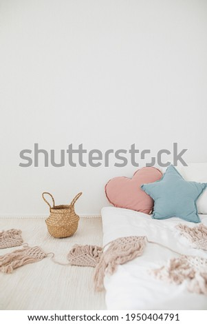 Styled kids bedroom interior with modern concept, for spring and summer with pastel colors. Stock photography for spring projects.