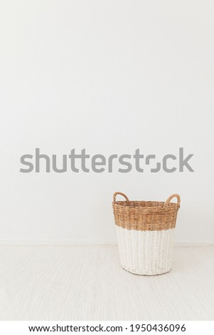 Stock photography with a basket for toys for kids concepts this spring and summer with beige and white color
