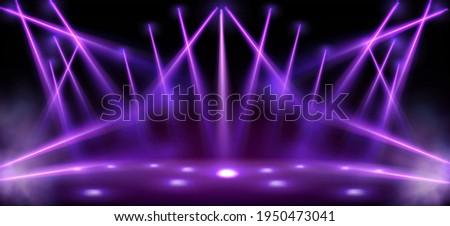 Stage lights, spotlight beams with smoke, glowing studio or theater scene lamp rays on black background. Purple illumination on floor and ceiling for concert or show presentation, Realistic 3d vector Royalty-Free Stock Photo #1950473041