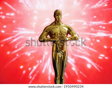 Hollywood Golden Oscar Academy award statue on red fireworks background. Success and victory concept.
