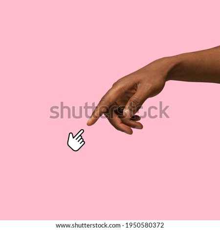 Online connection. Hands aesthetic on bright background, artwork. Concept of human relation, community, togetherness, symbolism, surrealism. Light and weightless touching unrecognizable Royalty-Free Stock Photo #1950580372