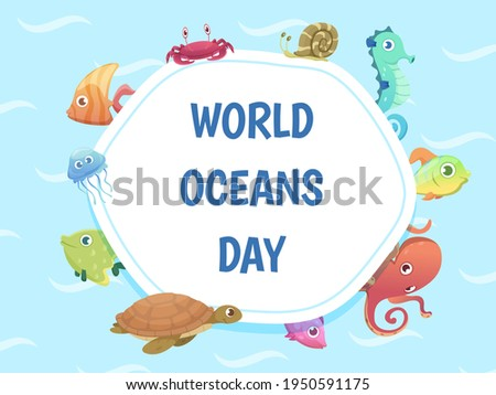 World oceans day poster. Save water background. Sea wild animals illustration