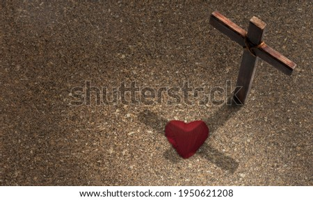 Wooden cross. Concept Jesus loves you. Easter time.
