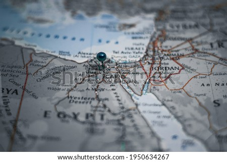 Cairo, the capital of Egypt pinned on geographical map Royalty-Free Stock Photo #1950634267