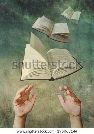 Photo illustration of child's hands reaching up for open books that are flying like birds in the sky. Reading enrichment and education concept. Artistically textured with a painterly vintage look.  #195068144