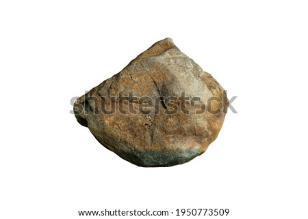 Basalt rock isolated on white background. Basalt is a mafic extrusive rock, is the most widespread of all igneous rocks. Royalty-Free Stock Photo #1950773509
