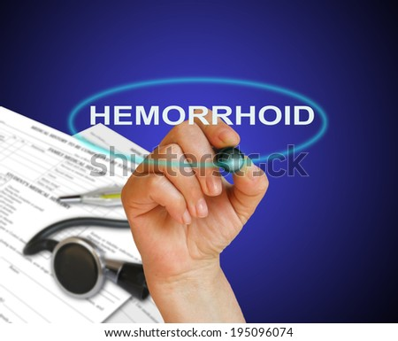 writing word hemorrhoid with marker on gradient background made in 2d software #195096074