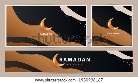 Ramadan Kareem modern luxury design Set in modern art style. Abstract art hand drawn  background with golden sand dunes and shining moon against the night sky. Poster, cover, card, header for website Royalty-Free Stock Photo #1950998167