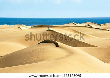 Sandy dunes in famous natural Maspalomas beach. Gran Canaria.  Spain Royalty-Free Stock Photo #195123095