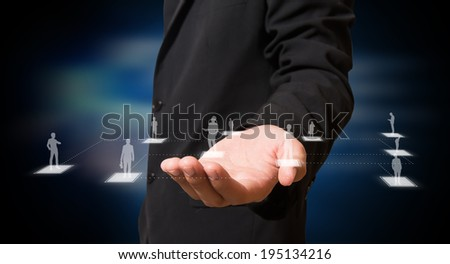 businessman with connection of business on hand #195134216