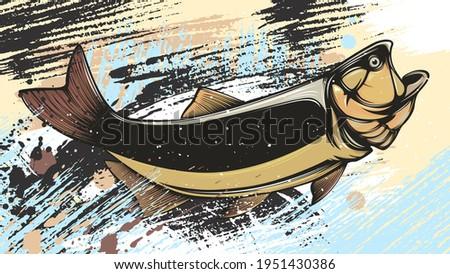 Gold dorado fishing  logo. Salminus brasiliensis fish club emblem. Fishing theme illustration. Isolated on white.