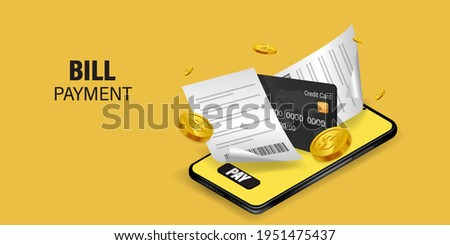Bill of expenses is on mobile phone.Pay bills with mobile phone.Online shopping spending.Online shopping via smartphone.Bill payment flat isometric vector concept of mobile payment, shopping, banking. Royalty-Free Stock Photo #1951475437