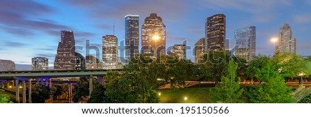 Downtown Houston Panorama from Sabine Street Bridge