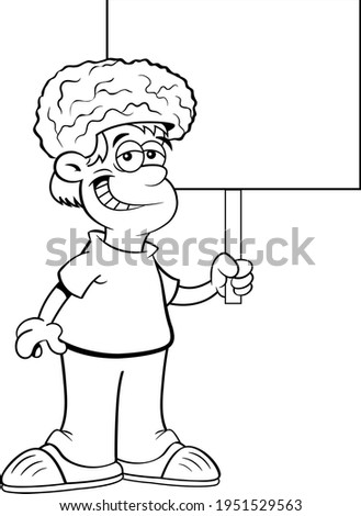 Black and white illustration of a smiling boy wearing a brain hat while holding a sign.