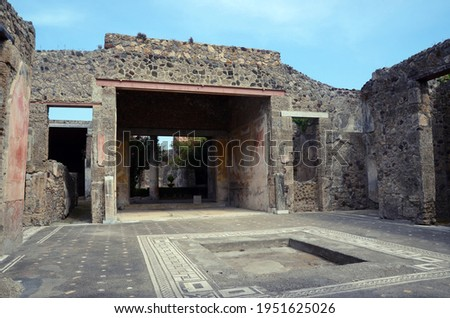 Ruins of Ancient Roman city of Pompeii Italy, was destroyed and buried with ash after Vesuvius eruption in 79 AD Royalty-Free Stock Photo #1951625026