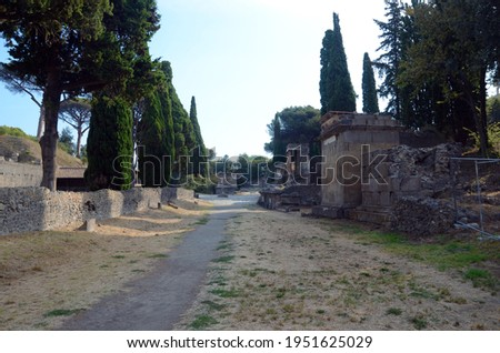 Ruins of Ancient Roman city of Pompeii Italy, was destroyed and buried with ash after Vesuvius eruption in 79 AD Royalty-Free Stock Photo #1951625029