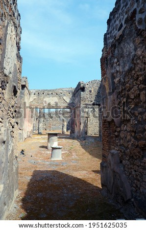 Ruins of Ancient Roman city of Pompeii Italy, was destroyed and buried with ash after Vesuvius eruption in 79 AD Royalty-Free Stock Photo #1951625035