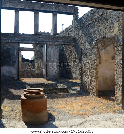 Ruins of Ancient Roman city of Pompeii Italy, was destroyed and buried with ash after Vesuvius eruption in 79 AD Royalty-Free Stock Photo #1951625053