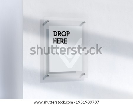 Drop Here signage hanging poster. Business owner puts a drop sign.