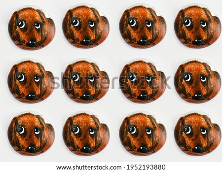 Pattern. Red-haired sad dog on a white background.