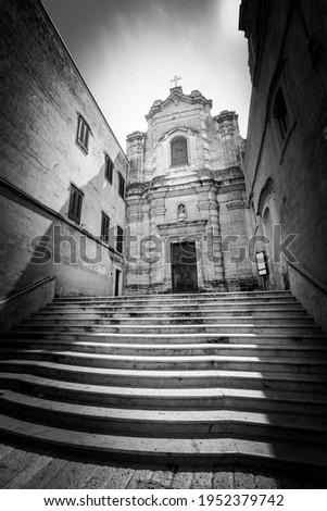 Church of Saint Lucia al Piano, Matera. Italy. Ancient church in the city of Matera, southern Italy. Black and white with vignetting.