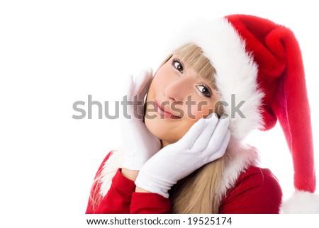 pretty smiling blond girl dressed as Santa #19525174
