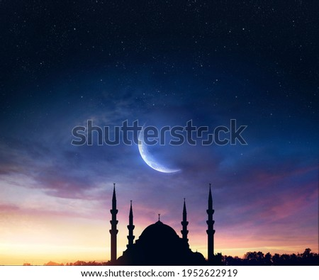 mosque sunset sky, holy and islamic night nad silhouette mosque Royalty-Free Stock Photo #1952622919