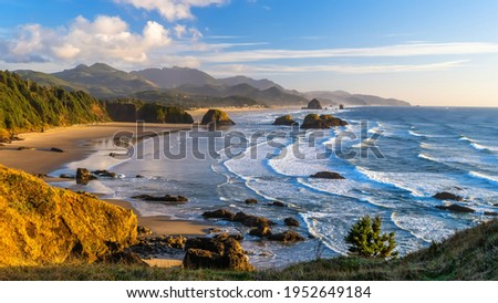 Ecola State Park is a state park located approximately 3 miles north of Cannon Beach in Clatsop County in the U.S. state of Oregon on the Oregon Coast.  Royalty-Free Stock Photo #1952649184