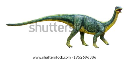 Mussaurus is a genus of herbivorous Sauropodomorph dinosaur that lived during the Late Triassic, Mussaurus isolated on white background with clipping path Royalty-Free Stock Photo #1952696386
