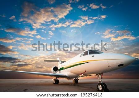 jet plane parked with nice sky #195276413