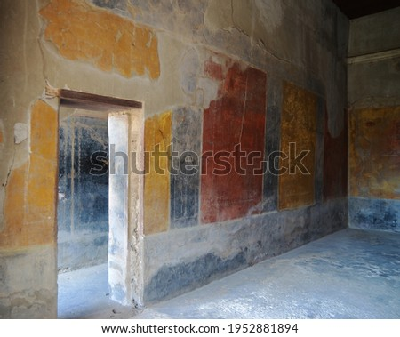 Ruins of Ancient Roman city of Pompeii Italy, was destroyed and buried with ash after Vesuvius eruption in 79 AD Royalty-Free Stock Photo #1952881894