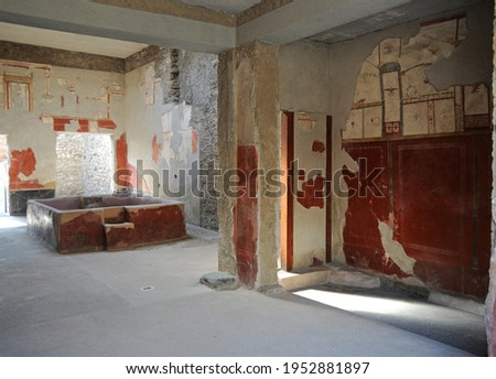 Ruins of Ancient Roman city of Pompeii Italy, was destroyed and buried with ash after Vesuvius eruption in 79 AD Royalty-Free Stock Photo #1952881897