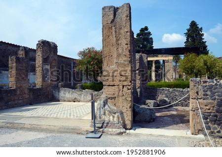 Ruins of Ancient Roman city of Pompeii Italy, was destroyed and buried with ash after Vesuvius eruption in 79 AD Royalty-Free Stock Photo #1952881906