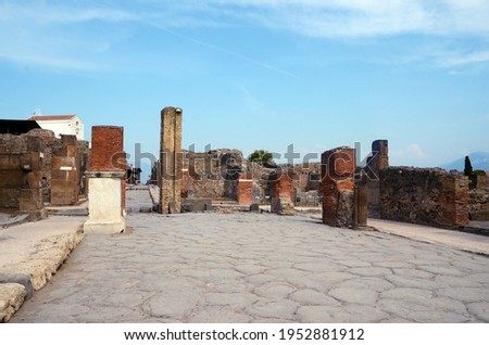 Ruins of Ancient Roman city of Pompeii Italy, was destroyed and buried with ash after Vesuvius eruption in 79 AD Royalty-Free Stock Photo #1952881912