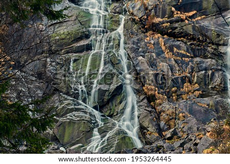 Beautiful Nardis waterfalls in Val di Genova, Adamello-Brenta Natural Park  in the northern Italy Royalty-Free Stock Photo #1953264445