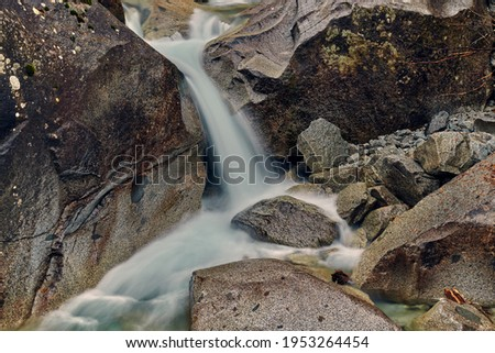 Beautiful Nardis waterfalls in Val di Genova, Adamello-Brenta Natural Park  in the northern Italy Royalty-Free Stock Photo #1953264454