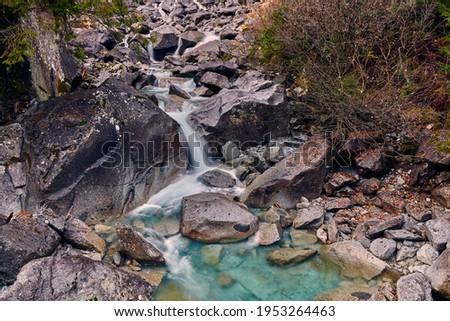 Beautiful Nardis waterfalls in Val di Genova, Adamello-Brenta Natural Park  in the northern Italy Royalty-Free Stock Photo #1953264463