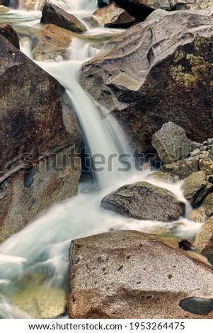 Beautiful Nardis waterfalls in Val di Genova, Adamello-Brenta Natural Park  in the northern Italy Royalty-Free Stock Photo #1953264475