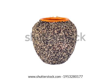 empty decorative ceramic plant pot isolated on white background. big modern porcelain vase for garden. Shiny bright colors glazed, vintage handmade pottery decorated with various mollusk seashells Royalty-Free Stock Photo #1953280177