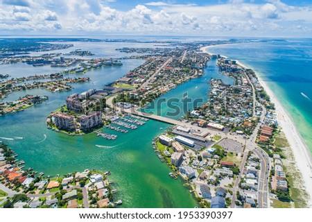 Sunny beach vista from St. Pete Beach, FL Royalty-Free Stock Photo #1953390397