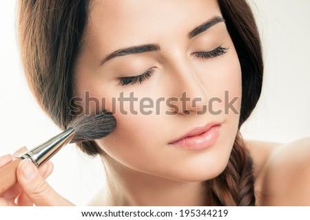 Makeup Applying  closeup. Cosmetic Powder Brush. Perfect Skin #195344219