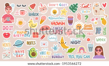 Diary stickers. Words, characters and quotes for planner journal. Trendy notebook decor with girls, food and cats. Daily reminder vector set as coffee cup, love letter, rainbow and light bulb Royalty-Free Stock Photo #1953566272