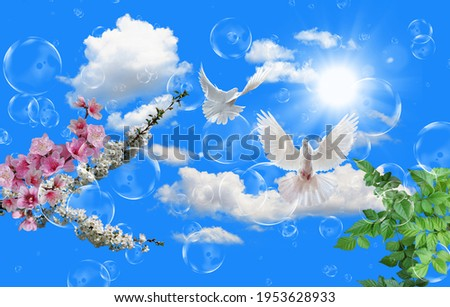 stretch ceiling picture flying dove cloudy sky ,bubbles and sun