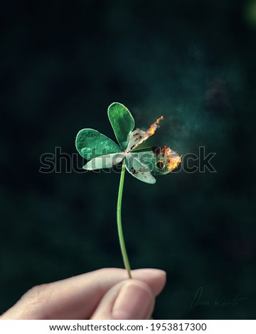 Green clover burning, with fire, holding by a hand, isolated clover