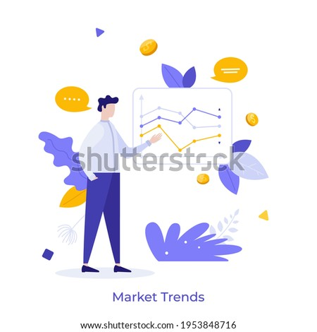 Stockbroker demonstrating and analyzing stock exchange charts. Concept of market trends analysis and research, investment strategy, IPO. Modern flat colorful vector illustration for poster, banner. Royalty-Free Stock Photo #1953848716