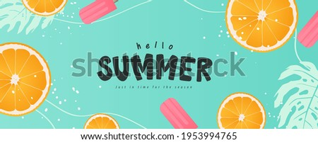 Colorful Summer background layout banners design. Horizontal poster, greeting card, header for website Royalty-Free Stock Photo #1953994765