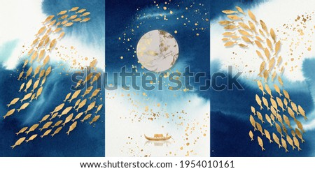 3d illustration of a wall painting of fish swimming, moon and boat