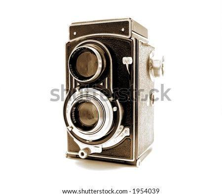 Old Photo Camera in Sepia