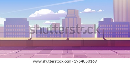 Terrace on rooftop with city view. Empty patio on roof or balcony with railing on background of cityscape with modern buildings and skyscrapers. Vector cartoon illustration of house terrace in town Royalty-Free Stock Photo #1954050169