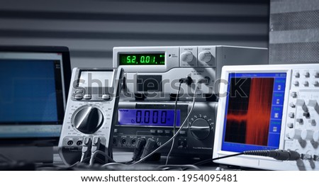 electronic measuring instruments in science lab Royalty-Free Stock Photo #1954095481
